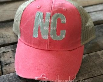 Coral & Mint NC Trucker Hat