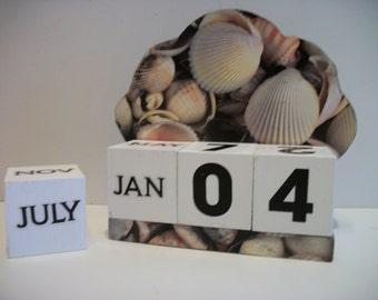 Seashell Calendar Perpetual Block Calendar Wood Seashell Beach Theme Decor