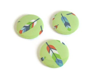 Green boho feather fridge magnets, set of 3 fridge magnets 50 mm feather magnet round, decorative pattern kitchen decor room child