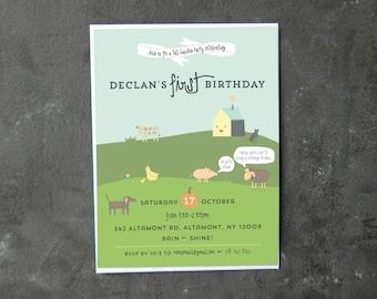 Children's Farm Birthday Invitation