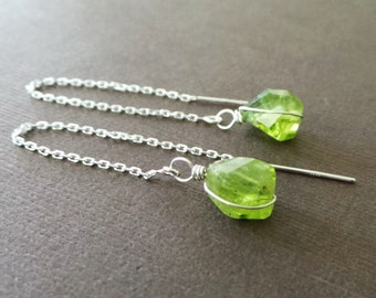 Green Peridot Threader Earrings Long Chain Dangle Earrings