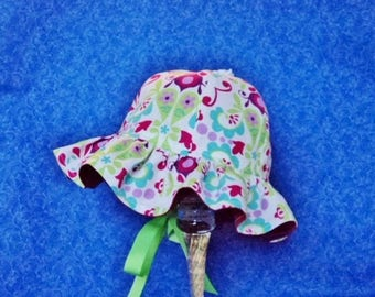 Ruffled Brim Baby Sun Hat Off White and Colorful