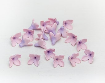 20 Lilac beads,  pink-purple polymer clay beads jewelry,  flowers 9-10mm, jewelry beads, small flower bead floral beads