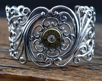 Bullet Cuff Bracelet – Large Sterling Silver Cuff Bracelet with 45 Caliber Bullet Casing and Genuine Swarovski Crystal