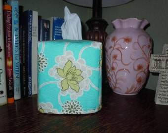 Ready To Ship - Amy Butler Clematis in Turquoise Tissue Box Cover