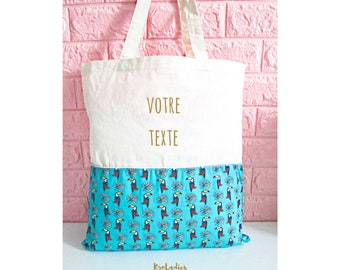 Tote bag personalized, ecru, blue toucans - cotton bag, tote bag, shopping bag, bag, birthday gift, mother's day