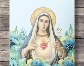 Mary, Our Lady art Printable Catholic Mary Mother wall art religious art virgin mary holy mary blessed lady blessed virgin virgin mary art