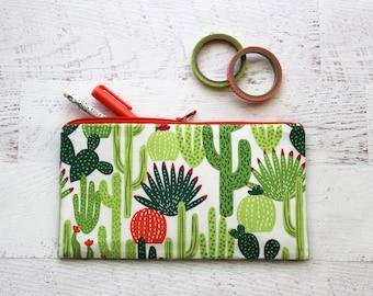 Cactus pencil pouch - stocking stuffer pouch - planner pouch - cactus pen case - school supplies - cactus print bag - pencil case