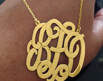 """SALE 2"""" Personalized Gold Monogram Necklace 2 inch 18k Gold plated Any initial Monogram made with 925 silver"""