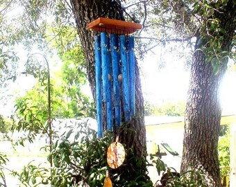WIND DANCER--Copper Wind Chime with blue patina
