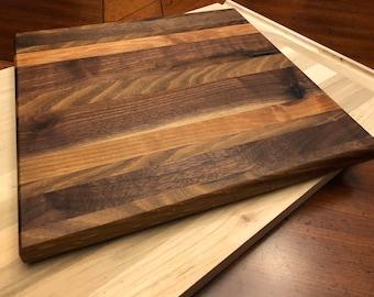 "Reclaimed Wood Cutting Board Walnut and Oak 10 3/4"" x 10 3/4"" x 3/4"""