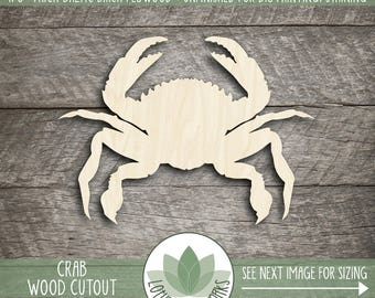 Wood Crab Laser Cut Shape, DIY Craft Supply, Sea Life Wood Shape, Beach House Decor, Laser Cut Wood Crab, Blank Wood Shapes