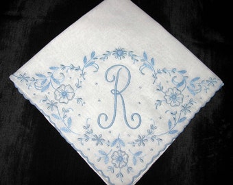 Monogrammed Handkerchief, Wedding Initial S R H F A B M E or N letter, Hankerchief Bridal Hankie, Wedding Something Blue