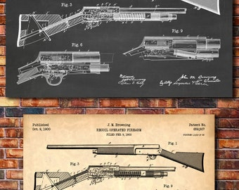 Browning Auto 5 Shotgun Patent Print Art 1900
