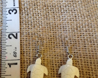 Small Traditional Polynesian Design Inspired Carved Bone Earrings..Honu/Fonu
