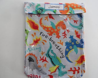 Dragons Personalized Clear Front Pouch 8x10 Toddler Boy Baby Diapers Wipes First Aid Inhaler Epi Pen Clothing Daycare Preschool Bag