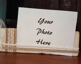hand made wooden block photo holder, with option of haning on a wall or sitting on a shelf.