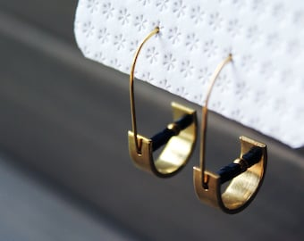 Half moon earrings brass geometric earrings beaded hoop earrings small gold hoops half circle cool minimal jewelry original - Unity Earrings