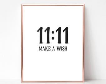 11:11 Make A Wish Print - DIGITAL DOWNLOAD - Make A Wish Print - Nursery Printable - Make A Wish Printable Gift -
