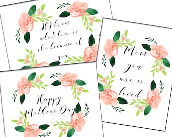 Floral Mothers Day Cards, Set of 3, Mothers Day Gift Cards, Printable Gift Cards, 8x10