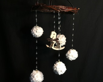 Handmade neutral rocking horse hanging baby mobile with cascading crystals and chenille pom poms