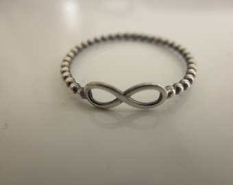 Infinity  ring - blackened infinity ring - oxidized ring - 925 solid sterling silver - eternity ring
