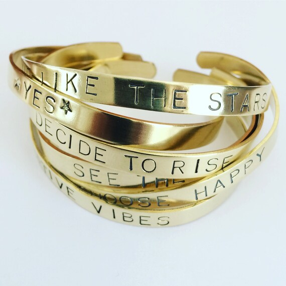 Positive Vibes Brass Cuffs - Yes - Quotes - Mental Health - Gifts - Uplifting - Strength - Love - Friendship - Hope