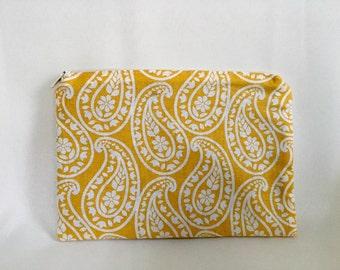 Yellow Paisley Flat Zipper Pouch