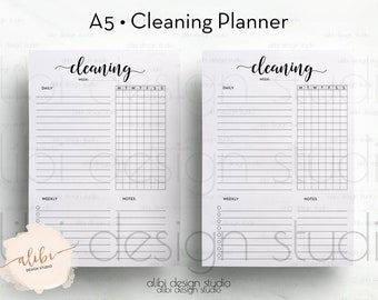 Cleaning Planner, A5 Planner Inserts, Cleaning Schedule, Printable Planner, Cleaning Checklist, Cleaning Printable, A5 inserts, To Do List