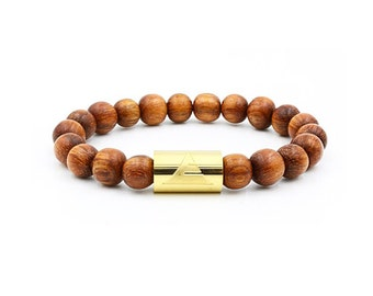 Everwood - The Solid Gold Beaded Bracelet - Natural Bayong Wood