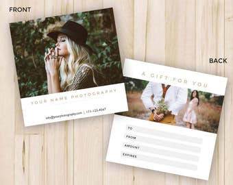 Photography Gift Certificate - Gift Certificate Template - Photoshop Template PSD *INSTANT DOWNLOAD*