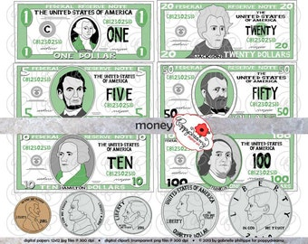 Money Clipart Set - (300 dpi) School Teacher Clip Art Math Manipulatives Dollar Bills Penny Quarter Dime Nickel Five Ten Twenty