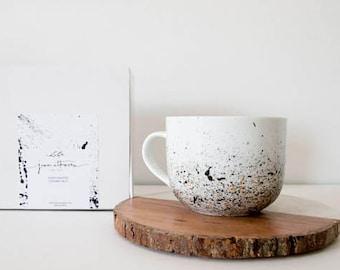 Coffee Mugs, Latte Mug, Hand Painted, Ceramic, Mug for her, Paint Splatter, Minimal, Big Mug, Unique Coffee Mug, Big Ceramic Mug