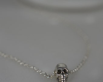 Tiny Sterling Silver Skull Necklace