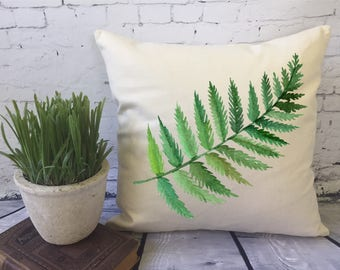 large fern leaf leaf throw pillow decorative throw pillow cover/ color of the year/ green