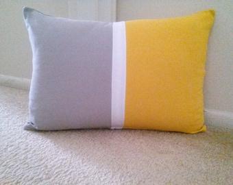 Color Block Pillow Cover, Gray Yellow Blocks Pillow Cover, Decorative Pillow Cover