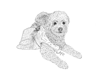 Custom Pet Portrait | Personalized Pet Illustration | Animal Lover Gift | Pet Memorial | Floral Arrangement | Dog Cat Portrait