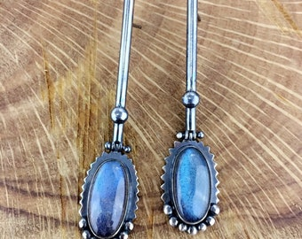 MSJ pair of Labradorite earring < 925 Sterling Silver oxidized jewelry >