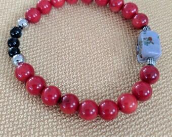Fun red beaded bracelet