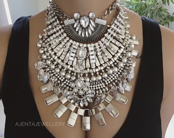 SALE! Jackson- Handcrafted dylanlex Inspired Bohemian festival statement silver crystal rhinestone ethnic tribal multi layer necklace