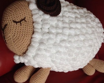 Crochet Sleepy Sheep Cushion cover/pajama case Pattern