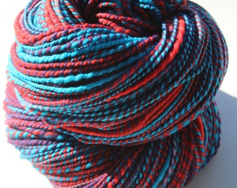 Gummy Worms, Hand Spun, Hand Dyed, Worsted, Yarn, Blue, Red, Purple