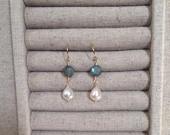 Labradorite and pearl earrings