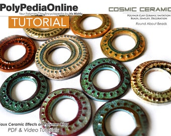 Polymer Clay Tutorial, Necklace Tutorial, Earring Tutorial, PDF Tutorial, Polymer Clay Beads, Jewelry Tutorial, Polymer Ceramic, Video, Fimo