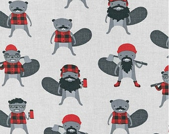 Burly Beavers Steel Grey Robert Kaufman Fabric, Choose your cut