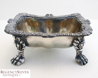 Extremely Heavy Scottish Antique (1896) Solid Sterling Silver Hallmarked MASTER SALT Dish Cellar. 19th-century.