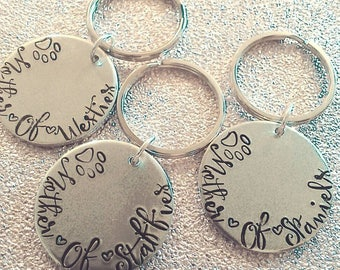 Mother of Pets Keychain - Fur-baby Gift - Hand Stamped Keychain - Dog Mummy - For Her- Mother's Day- Key Ring - Westie - Staffie - Spaniel
