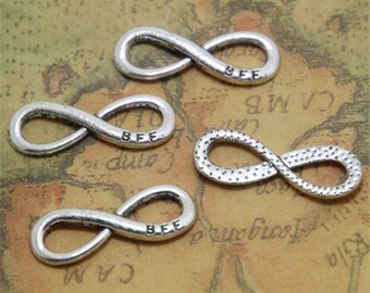 25pcs Infinity Charms,Best friend forever Connector,BFF,B F F silver infinity symbol Charm Pendants 9x24mm  ASD0243