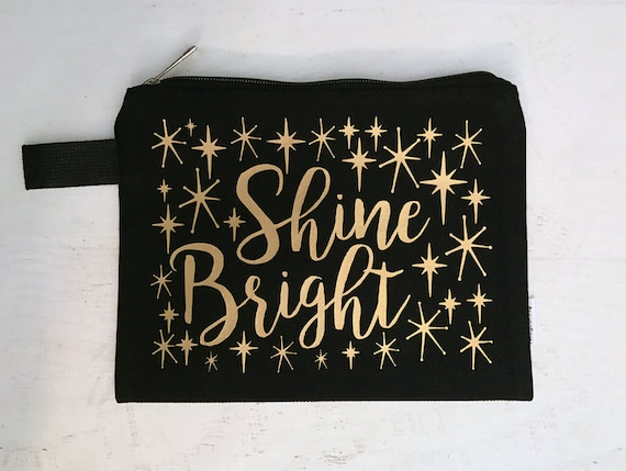 Canvas Makeup Bag Shine Bright Black with Gold Metallic Print with Vintage Style Stars