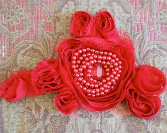 Red Chiffon Rose Appliques